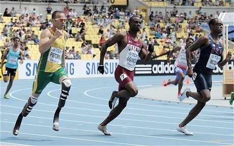 Oscar Pistorius makes history at World Athletics Championships in Daegu as he qualifies for men's 400m semi-finals He shrugged that he was just another runner, just the same as thousands of others. Yet for one day here, amputee Oscar Pistorius shone like an athlete in a million as he became the first amputee ever to compete in the world championships and blazed his bladed trail around the Daegu Stadium to qualify for tomorrow's semi-finals of the 400 metres.