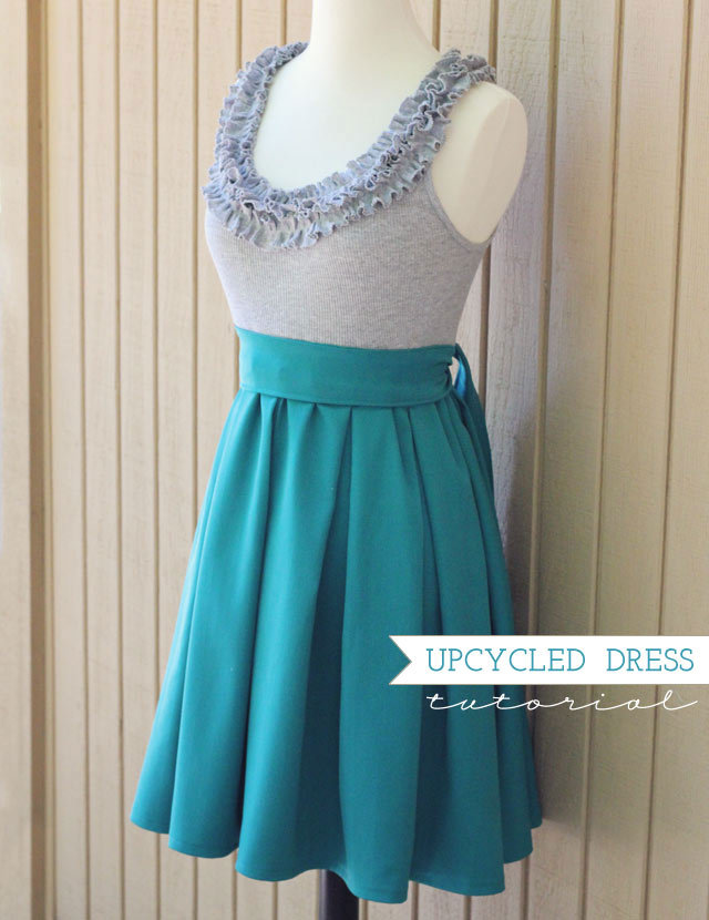 Upcycled Dress | How Joyful As I've said before, I've finally come to the sad conclusion that skirts are about as good as I'm going to get with my sewing! So I was excited to see this dress tutorial because it's basically a skirt attached to a tshirt. I'm not big on the old 'showing my arms' deal so I will use a short sleeved tshirt. I like that you can use any combination - a printed tshirt with a plain skirt or vice versa.