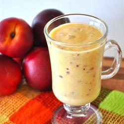 tumblrgym:     Nectarine Sunshine Smoothie   2 large nectarines, pitted and quartered 1 banana, cut into pieces and frozen 1 large orange, peeled and quartered 1 cup vanilla yogurt 1 cup orange juice 1 tablespoon honey Place the nectarines, frozen banana chunks, orange, vanilla yogurt, orange juice, and honey into a blender, and blend until smooth.