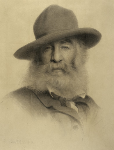 poboh:  Walt Whitman, 1875, Thomas Wilmer Dewing. American Tonalist Painter, (1851-1938)