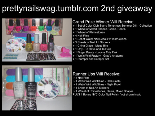 prettynailswag:  PrettyNailSwag's 2nd Nail Art GiveawayIt's been 1 year since I joined Tumblr and I can't even front…..I fucking love each and every one of my followers, no word of a lie, if I could visit each one of ya'll and swag out your nails, I WOULD!! Since I can't do that, here's my 2nd Nail Art Giveaway to honour my 1 Year Tumblr Anniversary: There Will Be a Total of 4 Winners: 1 Grand Prize Winner3 Runner UpsTo Win, You Must: Follow Me —-> http://prettynailswag.tumblr.com REBLOG THIS POST ONLY ONCE****SERIOUSLY ONLY REBLOG ONCE!!!**** Like This Post Do the above 3 things by August 31, 2011, 9:00pm EST ***FINE PRINT - MUST READ*** IF YOU REBLOG THIS POST MORE THAN ONCE, YOU WILL BE DISQUALIFIED (REASON BEING, SO ALL MY FOLLOWERS WILL HAVE AN EQUAL, FAIR CHANCE OF WINNING) Giveaway closes on Wednesday August 31st, 2011 at 9:00pm EST I will be using Random.org to randomly select all the winners. (Only 1 different winner per prize) Winners will be notified via their ask box - so make sure you have yours turned on! If I don't receive a reply from the winner within 2 days, I'll choose another winner Once the winners are finalized, I will announce & promo them on my blog This giveaway is open internationally! Click the pic to see the full size HD photo Good luck to everyone!xoxo,melp.s. I know the prizes aren't the biggest but don't worry, I'll still be doing 'pop-up' giveaways every now and then and possibly a giveaway of my first full nail set