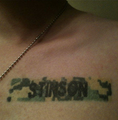 I got this Tattoo after my twin brother died. He committed suicide after three tours in the Middle East with the US Army. I had his name badge tattooed right where I put my hand over my heart for the Pledge of Allegiance. Every pledge is a tribute to his service and sacrifice.