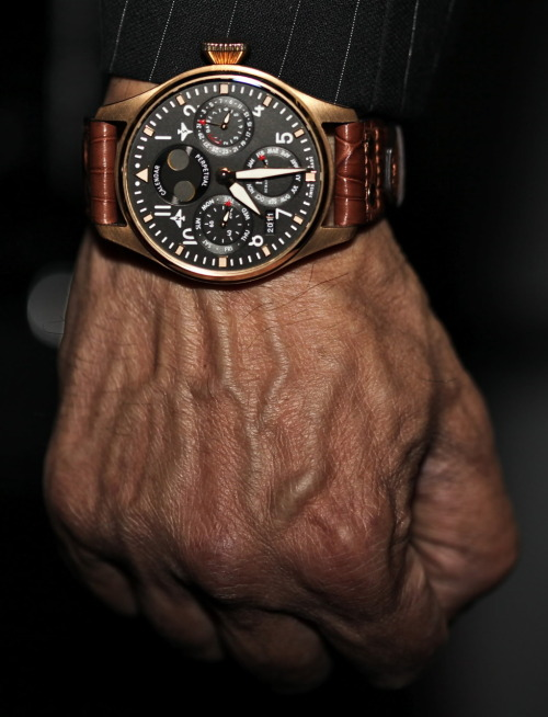 Such a cool watch for a well dressed, 50+, Sylvester Sattlone-clone. The rose gold IWC Big Pilot Perpetual Calendar.