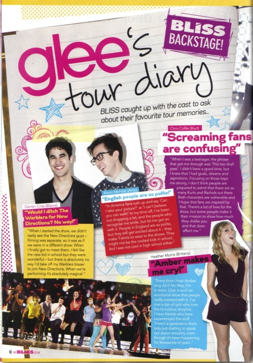 endofadecadestartofanage:      Page 1 of 'Glee's tour diary' inside Bliss magazine.     Page 2