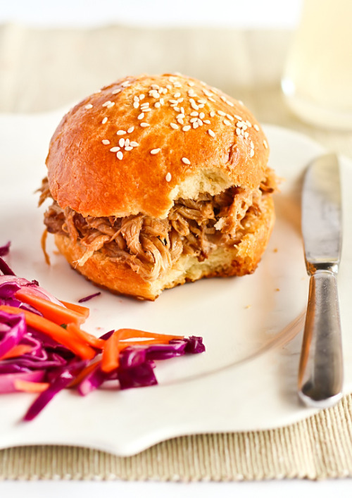 gastrogirl:  ginger beer pulled pork on a brioche bun.