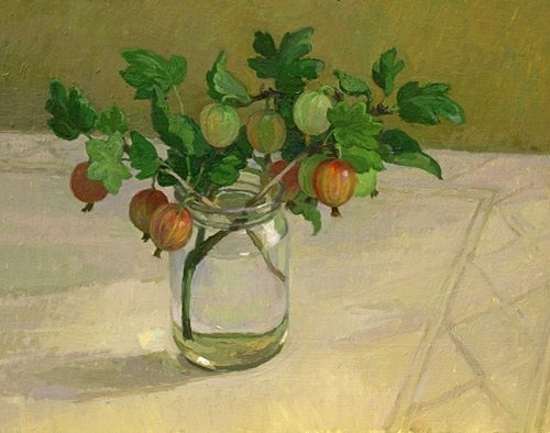 Diana Calvert Gooseberries in a Glass Jar 21st century