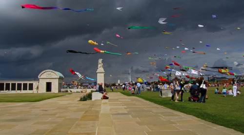 Dramatic skies start to appear at the Southsea Kite Festival 2011.