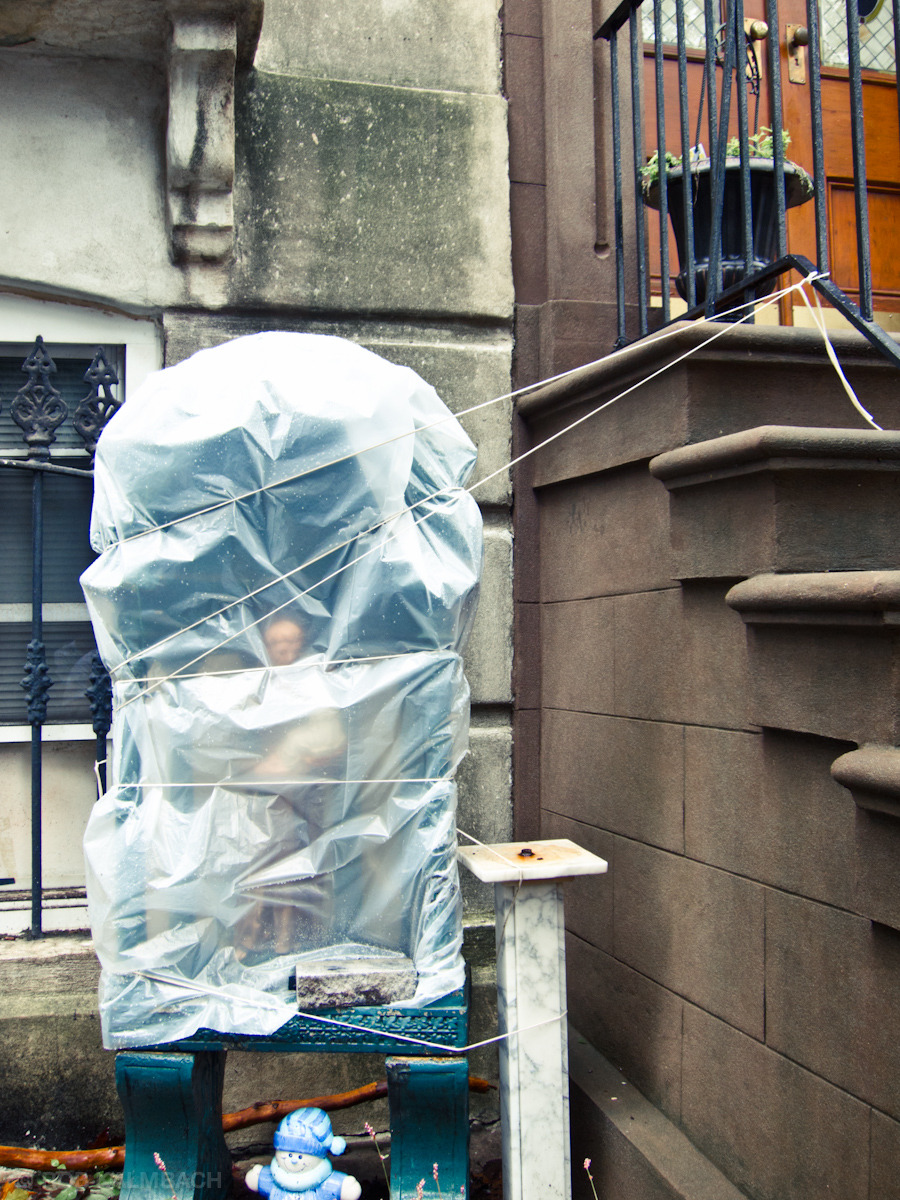 Bathtub Madonnas bagged and ready - after Hurricane Irene in Carroll Gardens, Brooklyn