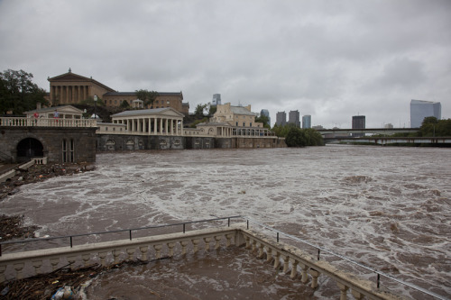 Flooding at the waterworks from the Hurricane in Philadelphia