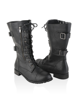 these boots will help you channel your inner kurt/tina/puck = ] F21+ Wide Calf Combat Boots - $36.80
