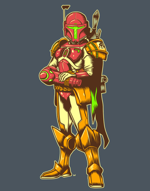 justinrampage:  Boba Fett and Samus merging as one would make for the ultimate Bounty Hunter. Great mash up by Tumblr artist Timothy Lim. He, she or he/she? Galactic Bounty Hunter by Timothy Lim / ninjaink (RedBubble) Via: ninjaink