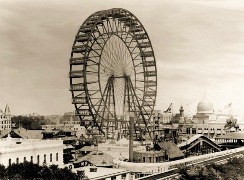 victoriasrustyknickers:  The First Ferris Wheel at the 1893 World Columbian Exposition in Chicago -It was the largest attraction on display, with a height of 80.4 metres - 264 ft.  People were so terrified of being that high up in the air that they tried to jump out of it.