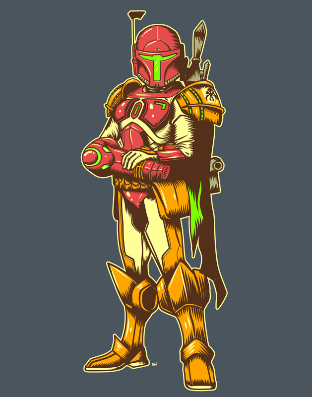 Galactic Bounty Hunter Timothy Lim (a.k.a. ninjaink) combines Samus Aran and Boba Fett to create one bad ass set of armor capable of taking on any hostile alien species it encounters.