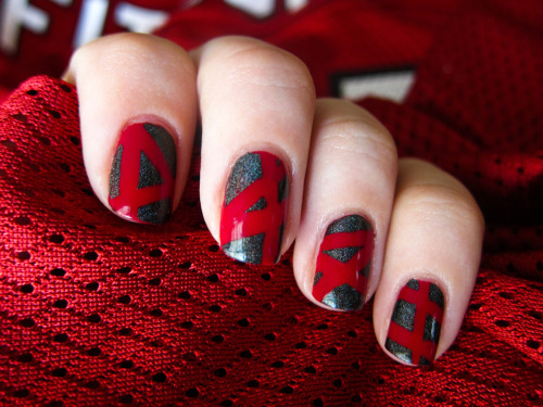 chalkboardnails:  Arizona Cardinals (Nailside-Style Tape Mani) OPI - Manicurist of SevilleColor Club - Revvvolution