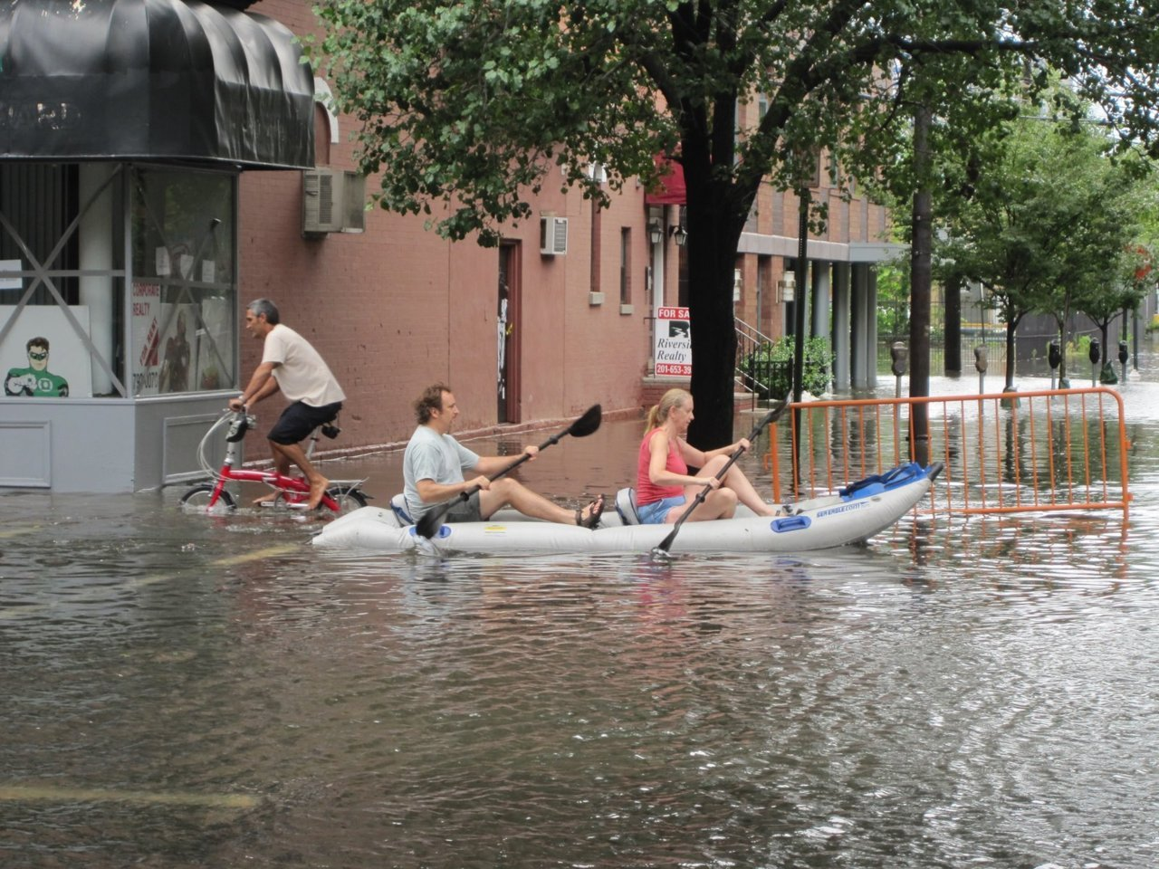 Kayaking down 1st Street in Hoboken
