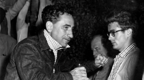 Director Elia Kazan and James Dean on the set of East of Eden.