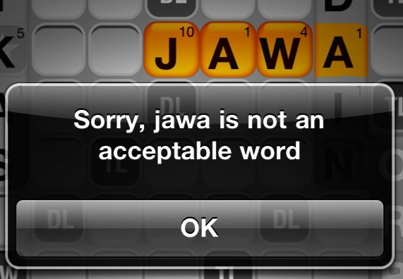 Words with Friends does NOT, however, use the Star Wars dictionary.   (click for reference)