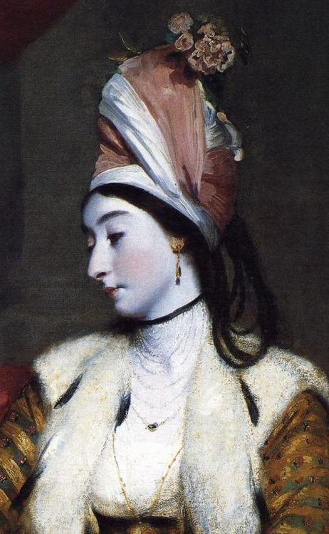 missfolly:  Portrait of Jane Maltass (Mrs. Baldwin) (detail) by Sir Joshua Reynolds, 1782  Very interesting turban!  I wonder if they had some connection to the Eastern world or if this is just showing the popular Turkish influence of the time.  (And look at that necklace- drool!)