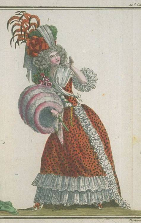 Magasin des Modes, February 1788. I love her pink and white muff!  It looks like cotton candy!  Cute spotty fabric and amazing lace, too!