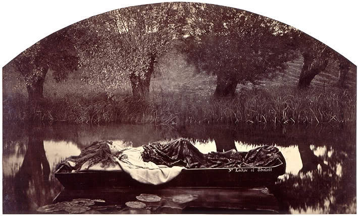 Henry Peach Robinson (1830-1901) ~ The Lady of Shalott. Toned Albumen print from two negatives, 1861. The Lady of Shalott by Henry Peach Robinson is unique, for it is the only known photograph that illustrates this  subject so popular in painting and book illustration.  Via