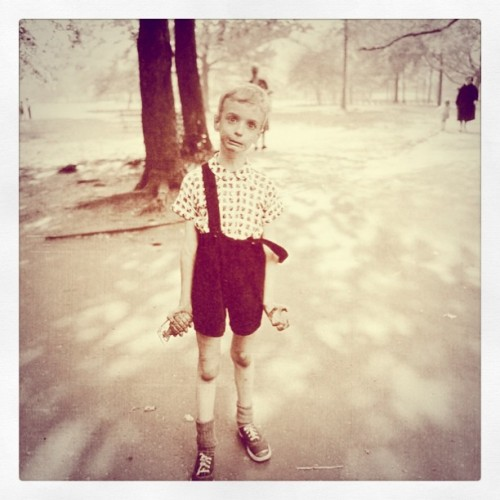 Diane Arbus - Child with Toy Hand Grenade in Central Park, New York City, USA (1962). Modified using instagram. View original version here.