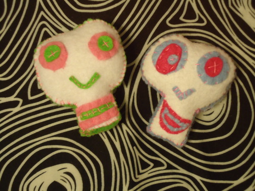 Neon Twins, hand sewn skulls available on Etsy
