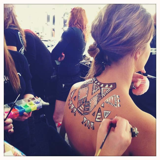 couturecourier:  Body art by Becca Gilmartin at RAFW 2011 - Love. (via miss unkon)