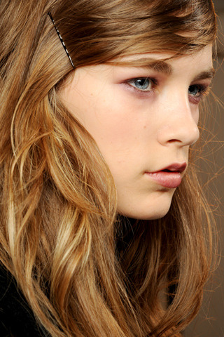 Colinne Michaelis backstage at Marni Fall 2011.