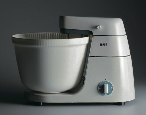 "blakegopnik:  Daily Pic: The ""KM 3"" mixer, designed in 1956 by the great Dieter Rams, designer for the German company Braun. It is now on view in a Rams survey that opened yesterday at the San Francisco Museum of Modern Art. (Click on the image to enlarge it.) Almost all the principles of so-called ""contemporary"" design –  the entire Apple repertoire – were already in place in Rams's earliest work. (There's a slide-show of his objects on the Art Beast page at TheDailyBeast.com.) Disclosure: I still own the  KM 3 that my parents bought in the 1960s, to mix food for a family of eight. And I still enjoy using it every time I take it out. How many small appliances have ever provided almost 50 years of function and, more importantly, pleasure? The Daily Pic, along with more global art news, can also be found on the  Art Beast page at thedailybeast.com.  Who wants to start the fydieterrams Tumblr? There's plenty more where this came from."