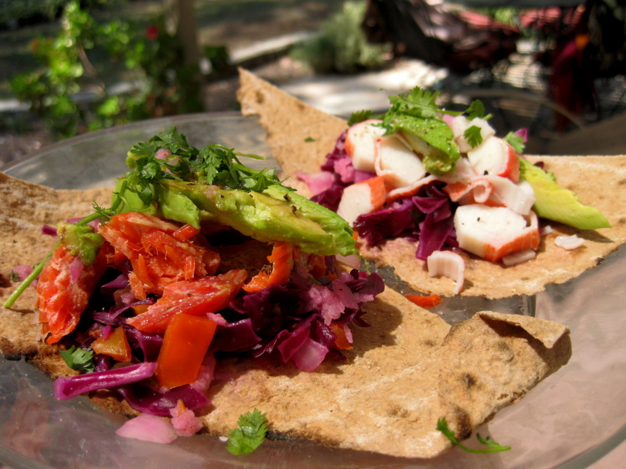 Hellllooo healthy whole-wheat lavash fish tacos!  I made these beauties with the left over ingredients from last nights Pacific Orchestra Symphony Picnic. Smoked Salmon Taco with Lime Cilantro Fiesta Slaw and a Crab Taco with Lime Cilantro Fiesta Slaw. Oh heaven.   Recipe for Slaw: Adapted from Family Kitchen.  Cilantro Jicama Fiesta Slawmakes about 5-6 cups   3 cups red cabbage, shredded1 cup jicama, thinly slicedSqueeze of citrus juice like orange or mandarin 1/4 cup white onion, diced1/2 tsp citrus zest (I used lime and orange)2 Tbsp jalapeno, diced 2 Tbsp cider vinegar 1 Tbsp Lime Juice 1 cup cilantro (stems and leaves), chopped1/4 tsp cayennesalt and pepper to taste Directions 1. Prepare all your veggies – I used a mandoline to shred my cabbage and slice my jicama. 2. Combine all the ingredients in a large mixing bowl – toss well. Customize the moisture-level of your slaw – to 'wet' your slaw a bit more, add in extra citrus juice. I added in about 1-2 Tbsp extra lime juice because I like my slaw nice and juicy. Salt and pepper to taste. 3. Chill in fridge until ready to be served.