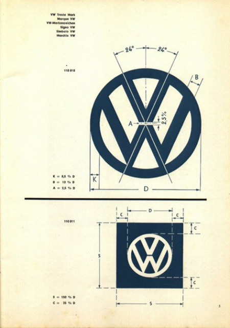 Volkswagen Logo Specifications I love looking at logo specs like this one for the VW logo, which is one of my favorite marks. It gives you some insight into how the logo was created. Graham Smith took the time to recreate this sheet into a downloaded file. Other personal favorites include the specs for the 1976 Montreal Olympics logo, and the Braun logo. (via Volkswagen Logo Specifications | AisleOne)