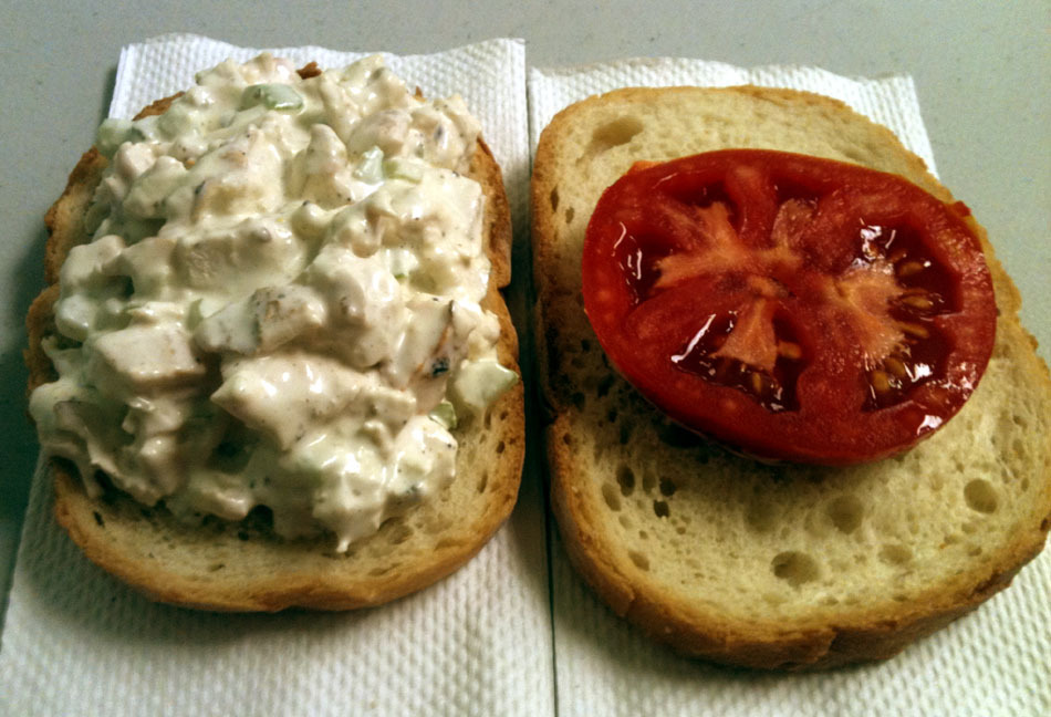 Chicken Salad Sandwich Homemade Mayonnaise, Grilled Chicken Breasts, Celery, Vidalia Onion, Dijon Mustard, Red Wine Vinegar, Salt, Pepper, and Celery Seed; Tomato; French Bread. Coworkers eating Doritos out of the machine as their lunch were not nearly as happy as I was. I'm thinking that my next mayo experiment is gonna include a chipotle pepper or two.