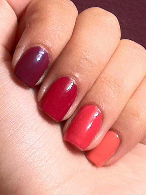 The Ombre Effect: Now Playing: (from left to right) Soul Mate, Essie (not pictured) Perfect Plum, Rimmel London Manicurist of Seville, OPI Watermelon, Essie Cute as a Button, Essie