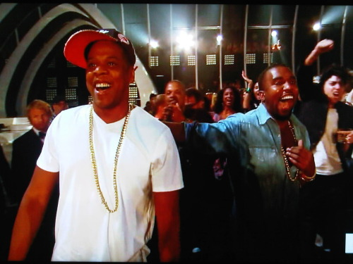 futuretheartist:  Jay, Kanye, and Lady (man) Gaga cheering after Beyonce's performance