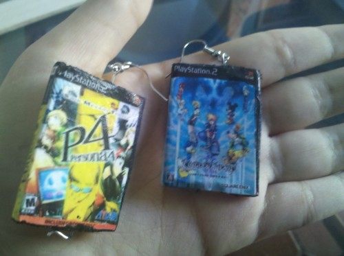 trancypants:  Kingdom Hearts & Persona 4 Earrings. Made by yours truly. :)