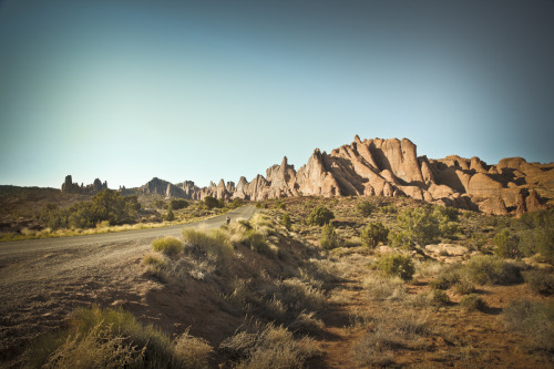 ROAD TRIP image no. 228 Devil's Garden trailhead ahead, Arches National Park, Utah July 1st, 2011 + click through to see larger