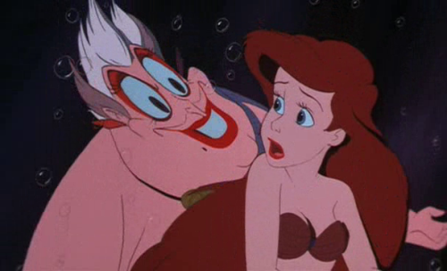 "animationsmears:  Ursula creepin' on Arielfrom ""The Little Mermaid (1989)"""