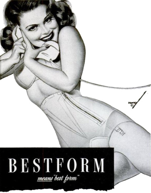 hollyhocksandtulips:  Bestform advertisement, 1944