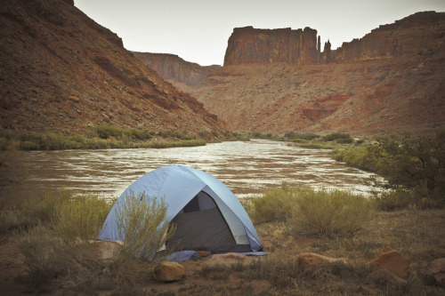ROAD TRIP image no. 233 The Colorado River, Moab, Utah This is where I set up for the night. Pure isolation, with the sound of the water trolling along while I slept. Breakfast at sunrise at this spot was right on as well. Crisp enough to make that dehydrated breakfast skillet packet taste like the real deal. When you set out on a road trip and you put in long days shooting and driving, this is where the payoff is. This is the second wind whammy. Not all pit stops are golden, but when you nail one, it doesn't get better than this folks. July 1st, 2011 + click through to see larger