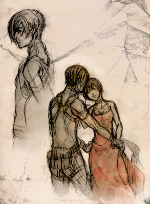 RE 4 - Leon and Ada sketch by *XMenouX