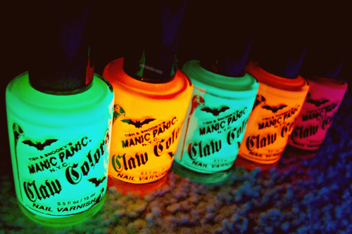 michellevela:  i got nail polish from party city they glow in the black light!! the colors are yellow pink green orange and purple