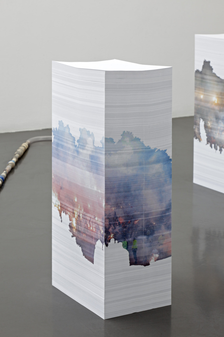 Aleksandra Domanovic- untitled (30.III.2010), 2010, printable monuments to the abolished .yu domain, 3 x 7.500 page paper-stack sculpture, A4 inkjet