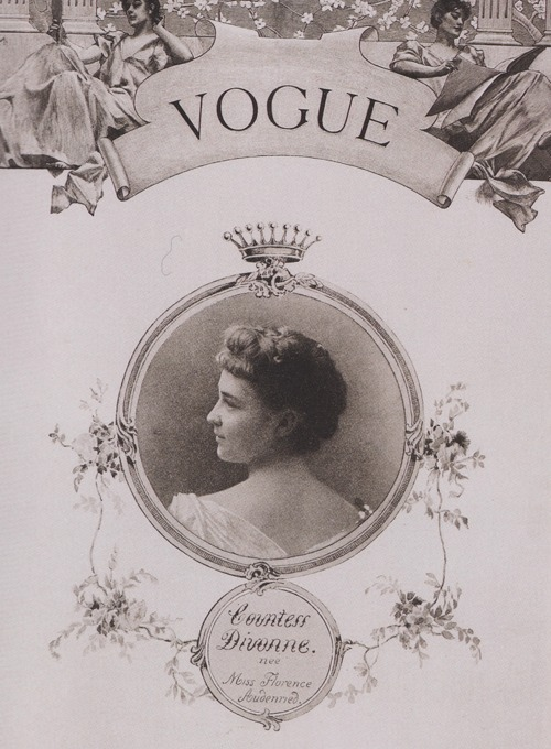 highlikefashion:  The first Vogue cover, Countess Divonne by Harry McVickar, 1893
