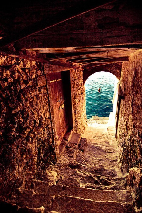 passageway to the sea - isle of crete, greece.