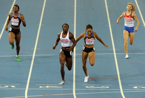 Botswana's Amantle Montsho (2L) runs to victory over US Allyson Felix as they compete in the women's 400 metres final at the International Association of Athletics Federations (IAAF) World Championships in Daegu on August 29, 2011. (via Photo from Getty Images)