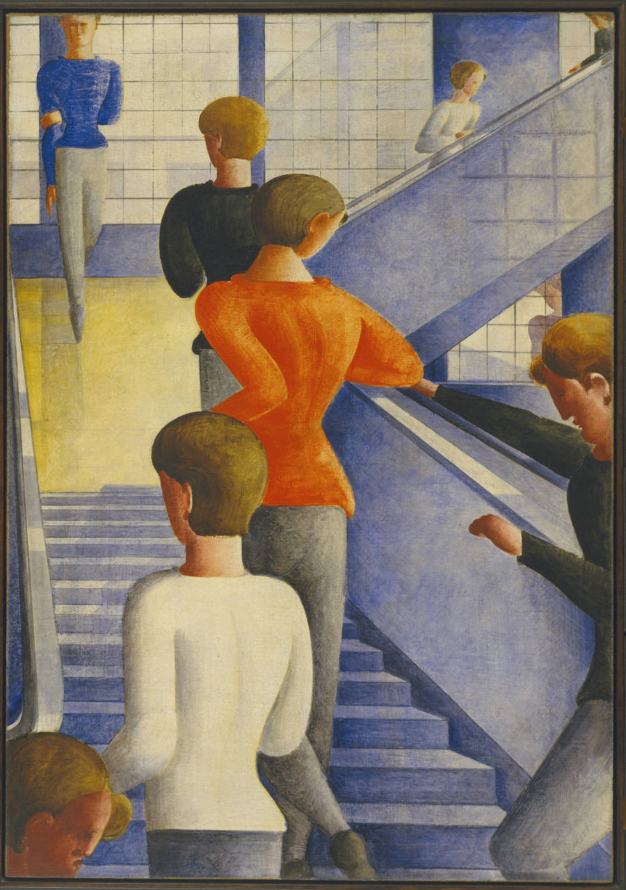"Oskar Schlemmer  -   ""The Bauhaus Stairway"" (1932)   Distinguishing features: This painting is a farewell. All but one of the students on an ordinary day at the Bauhaus are walking away from us, up the stairs, towards the huge windows - the Bauhaus belongs in a higher realm than this one. Only one figure comes towards us, not so much walking as dancing on tiptoes. Perhaps there is still hope. Schlemmer painted this in the year the Bauhaus was forced to abandon its beautiful modern building in Dessau. Another image, Yamawaki's collage The End of the Dessau Bauhaus (1932), makes no bones about what this meant: it shows a jackbooted Nazi leading a moustached politician to stomp on the Bauhaus."
