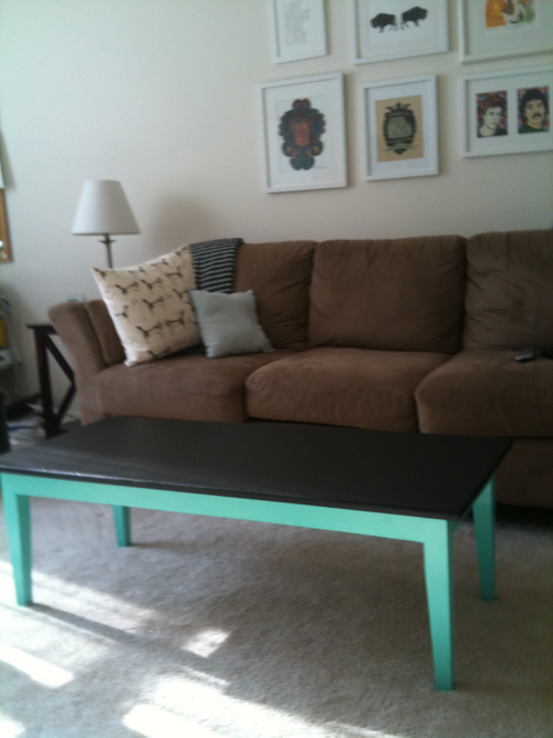 Weekend project: refinishing a $50 coffee table. The top is chalkboard paint, so I can of course label my cheese plates and keep score during game nights.