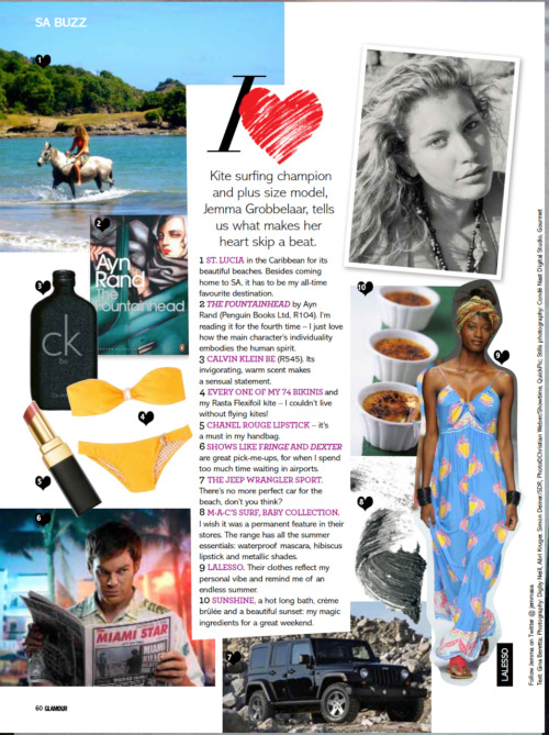 SA GLAMOUR MAGAZINE SEPT '11 I HEART WITH PRO KITESURFER AND PLUS SIZE MODEL JEMMA GROBBELAAR XXX