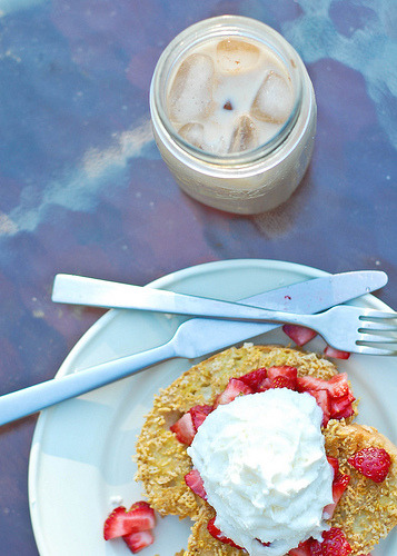 crunchy french toast and iced coffee (by LillianClaire)