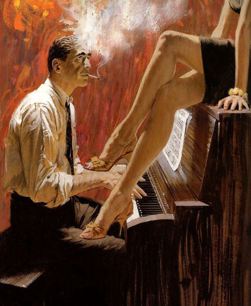 hollyhocksandtulips:  Illustration by Robert McGinnis, 1960  ilove her legs